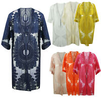 Ladies Italian Embroided Mesh Net Kimono Cardigan Lagenlook Front Open Tie Knot