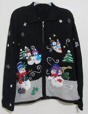 Womens Christmas Sweater Snowmen Cardigan Zippered Black No Size Tag Maybe XL