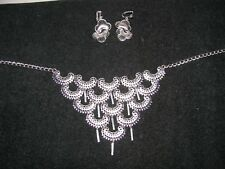 """Vintage Sarah Coventry Silver Toned Dangle 17"""" necklace & Clip drop earings"""