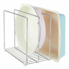 mDesign Metal Wire Cookware Organizer Rack for Kitchen, 3 Slots - Chrome
