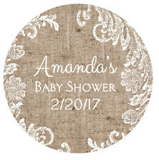 30 Burlap and Lace Baby Shower Favor Stickers - Personalized