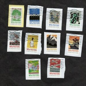 #5180-89 WPA Poster, Used Set of 10, Forever (49 cent) On Paper