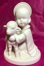 Vintage Goebel White Porcelain Bisque Angel With Lamb Hj 19 W. Germany