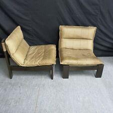 2x 70er Jahre Lounge Chair Club Sessel Leder creme Vintage Sessel Stühle
