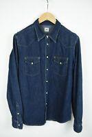 LEE SLIM WESTERN Men's LARGE Snap Dark Blue Denim  Shirt 21393_JS