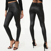 Womens ladies high waisted wet look leather look leggings trousers HIGH QUALITY