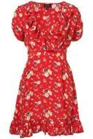 Topshop Red Meadow Floral Summer Vintage Wrap Skater Celeb Tea Dress UK8 36 US4