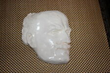 Antique Plaster Wall Plaque-Face Portrait Creepy Man Long Mustache Eyebrows