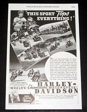 1939 OLD MAGAZINE PRINT AD, HARLEY-DAVIDSON MOTORCYCLES, WORLDS CHAMPION RACER!