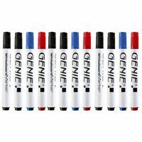 12 Stück GENIE Whiteboard-Marker abwischbar Stifte Flipchart schwarz blau rot