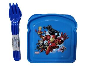Marvel iron Man Snack & Sandwich Container 2 Set Spoon Fork