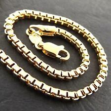 FS956 GENUINE REAL 18CT YELLOW G/F GOLD SOLID ITALIAN BOX PENDANT NECKLACE CHAIN