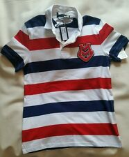 Love Moschino Jeremy Scott Striped Polo Shirt Milano Couture M Heart Logo Rugby