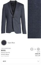 Boss Hugo Boss Men 's Norwin Trim Fit Blazer Sport Coat 40R Open Blue NWT