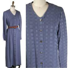 Vintage 19 00004000 90s Soft Silky Textured Periwinkle Buttondown Maxi Dress (not Belt)