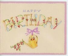 VINTAGE GARDEN FLOWERS TOOLS WATERING CAN UNIQUE LETTERING BIRTHDAY CARD PRINT