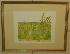 Original LIZA DONNELLY Dinosaur Garden Illustration Painting - NEW YORKER Artist