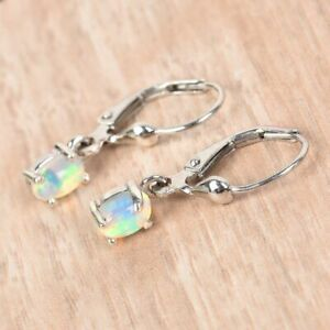 Opal Lever Back Drop Dangle Earrings in Platinum Plated Sterling Silver