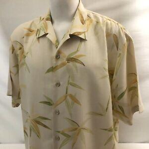 Tommy Bahama Men's Hawaiian Aloha Shirt XL Yellow Floral Bamboo 100% Silk