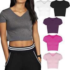 Ladies V-Neck Cap Short Sleeve Crop Top Vest T-Shirt Plain Stretch Tee Gym