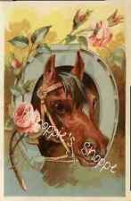Fabric Block Equestrian Bay Horse Pink Roses Horseshoe Black Brown