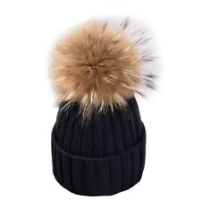 Removable Winter Hat Warm Real Fur Pom Pom Bobble Women Knitted Beanie Christmas