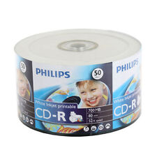 100 52X Philips Brand White Inkjet Printable CD-R Blank Disc Media 700MB