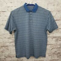 Alan Flusser Golf Mens XL Blue White Striped Short Sleeve Polo Shirt 100% Cotton