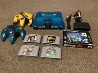 Nintendo 64 N64 Ice Blue Console And Games Job lot Bundle Mario Kart