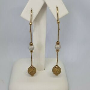 9ct Yellow Gold Ball Drop Dangle Earrings Hallmarked