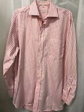 Peter Millar Pink w/ Red Pinstripes Shirt Mens Size Med
