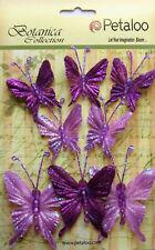 Glittered FABRIC Butterflies LAVENDER 5of 35x40mm & 3of 50x60mm Botanica Petaloo