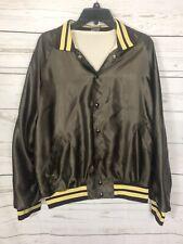 Vintage Satin Jacket-Brown & Yellow-Shreveport Auto Auction-Men's Size XL