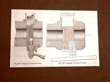 Incisione del 1875 Armi e Artiglieria Cannone Congegno chiusura Kreiner e Krupp