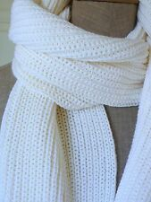 NEW Vtg PETER STEINEBRONN White Thick Ribbed Wool Blend Scarf 185X33 W. GERMANY