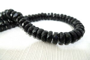 """72 Acrylic RONDELLE SPACER BEADS Black Faceted 12.5"""" Strand 4mm"""