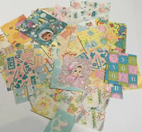 Huge Lot 65 Pcs BABY CHILDREN Vtg Gift Wrap Sweet Graphics Paper Assorted Size