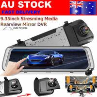 10'' Full Screen Dual Lens 1080P Dash Cam Car DVR Rear Mirror Camera Streaming