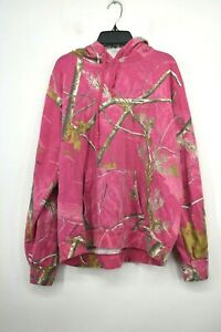 Realtree Womens Pink Camouflage Sweatshirt Drawstring Hood Front Pouch XL