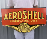 LARGE VINTAGE SHELL AEROSHELL PORCELAIN SIGN GAS LUBRICATE OIL MOTOR PUMP PLATE