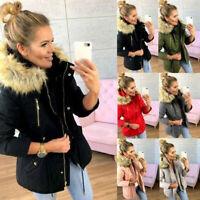 Women's Winter Warm Hooded Coat Outwear Fur Collar Hooded Jacket Parka Overcoat
