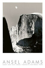 Ansel Adams Moon and Half Dome  Black & White Landscape Embossed Print Poster