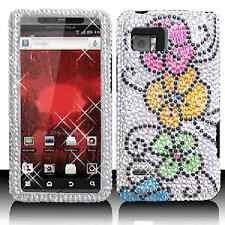 Silver Flowers Crystal Diamond BLING Hard Case Cover for Motorola Droid Bionic