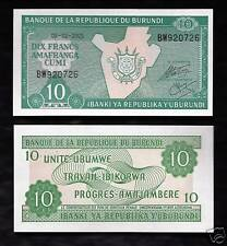 World Paper Money - Burundi 10 Francs 2007 @ Crisp Unc