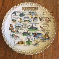 Vtg Arkansas souvenir plate The Wonder State Gold trimmed white Hot Springs