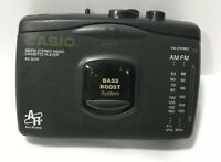 AM/FM Radio Cassette Player AS-301R Casio Black FOR PARTS NOT WORKING