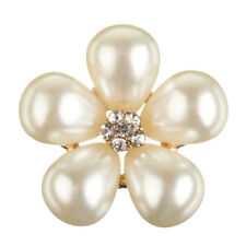 Pearl Crystal Rhinestone Buttons Flower Flatback Craft Embellishment Accessories Water Drops Pearl Flowers 5pcs