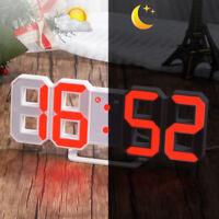 Digital LED 3D Table Desk Wall Clock Alarm 24/12Hr Display USB Battery Timer Red