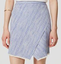 NWT Ann Taylor LOFT Striped Tweed Wrap Cotton Skirt Size 14