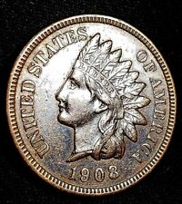 1908 1 Cent Indian Head Penny One Cent Coin with Repunched 1 in the date **